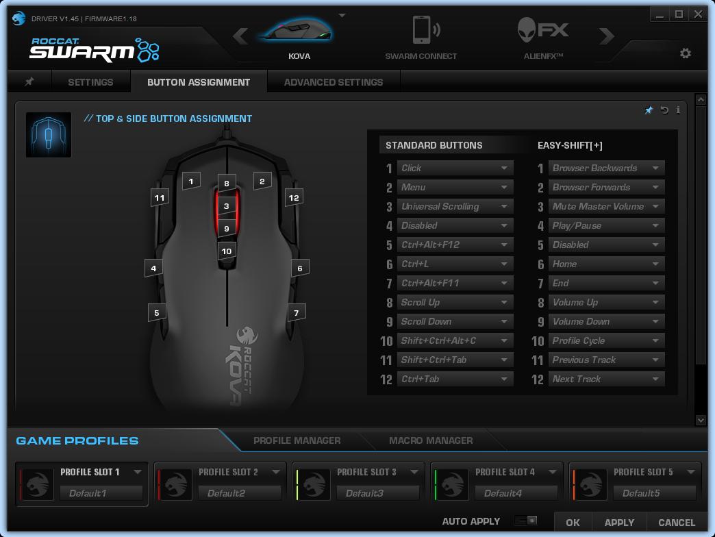 ROCCAT® SWARM驱动程序。可以看到幽灵豹有7个可编程按键。